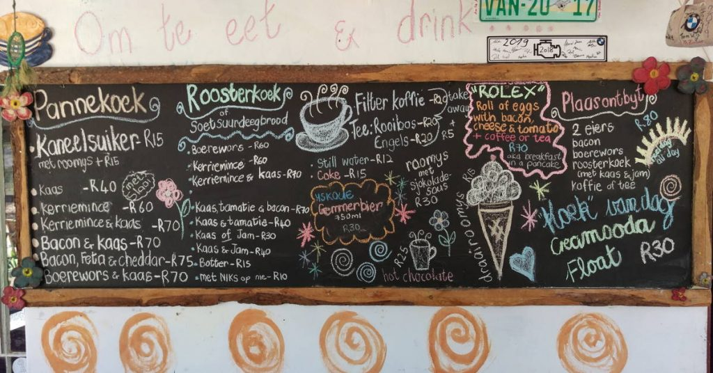 Bagdad Cafe Chalkboard Menu